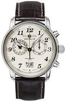 Zeppelin Chronograph Large Date Brown Leather Strap With Cream Dial