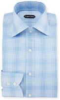 Tom Ford Slim-Fit Twill Plaid Bicolor Dress Shirt, Blue