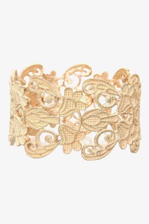 Gold & Ivory Filigree Stretch Bracelet