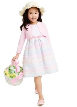 Blueberi Boulevard Little Girls 2-Pc. Shrug & Embroidered Rainbow-Stripe Dress Set