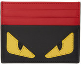 Fendi Black and Red bag Bugs Card Holder