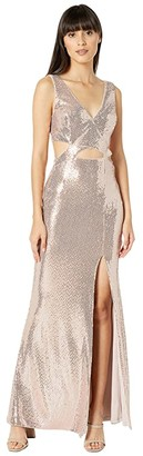 BCBGMAXAZRIA Sequin Cutout Gown (Rose Gold) Women's Dress
