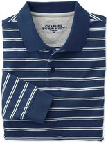 Charles Tyrwhitt Classic Fit Blue and White Striped Pique Long Sleeve Cotton Polo Size Large