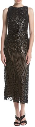 R & M Richards R&M Richards Women's One Piece Missy Size Embroidered Sequins Mesh Dress