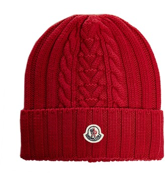 Moncler Logo Patch Ribbed Knit Beanie