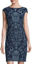 Julia Jordan Embroidered-Lace Sheath Dress, Denim