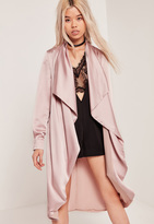 Missguided Satin Waterfall Duster Jacket Lilac