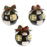 Mackenzie Childs MacKenzie-Childs - Holly Check Ball Tree Decorations - Set of 3