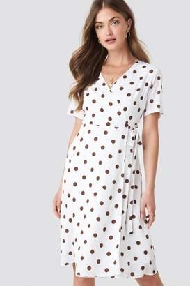 NA-KD V-Neck Dotted Midi Dress Brown