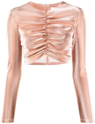 Area long sleeve cropped ruched top