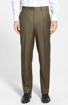 Santorelli Men's Flat Front Wool Trousers