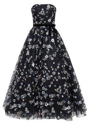 Monique Lhuillier Strapless Velvet-trimmed Embroidered Tulle Gown