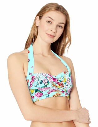 Kenneth Cole Reaction Women's Banded Halter Twist Front Bikni Swimsuit Top