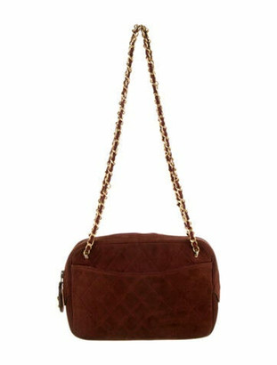 Chanel Vintage Suede Quilted Bag gold