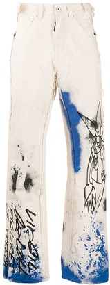 Off-White Off White graphic-print loose-fit jeans