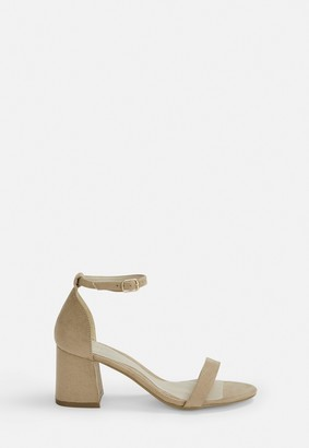 Missguided Nude Block Barely There Mid Heels