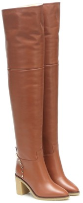 Valentino Rockstud 85 shearling-lined over-the-knee boots
