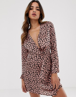 Club L London long sleeve twist front animal print dress-Beige