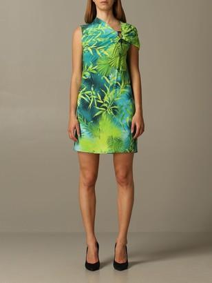 Versace Jersey Dress With Jungle Print