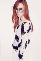 Wildfox Couture Cat Face Lennon Sweater in Clean White