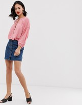Free People Dont Get Me Wrong button down denim skirt