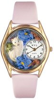 Whimsical Watches Kids' C0120002 Classic Gold White Cat Pink Leather And Goldtone Watch