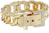 "GUESS Basic"" Gold and Crystal Frozen Link Buckle Cuff Bracelet"