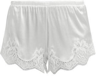 Dolce & Gabbana Lace-trimmed Silk-blend Shorts - Womens - White