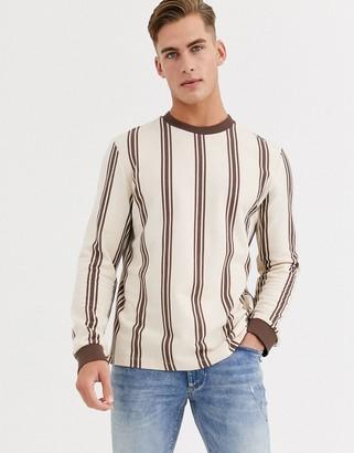 Asos Design DESIGN long sleeve t-shirt with vertical stripe-Beige