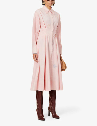 Ssone Balance embroidered cotton maxi shirt dress