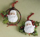 Midwest Mid-West Elegant Santa Claus in a Beaded Wreath Christmas Ornament