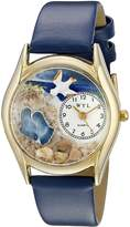 Whimsical Watches Women's C0710011 Classic Gold Footprints Royal Blue Leather And Goldtone Watch