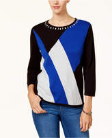 Alfred Dunner Beaded Colorblocked Sweater