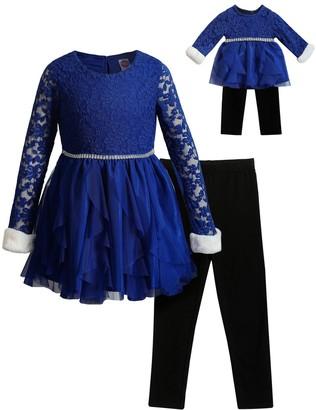 Dollie & Me Girls 4-10 Lace/Mesh Cascade Skirt Dress with Legging & Matching Doll Set