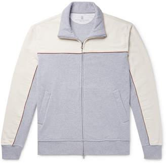 Brunello Cucinelli Stretch-Cotton Corduroy And Melange Fleece-Back Jersey Zip-Up Sweatshirt