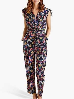 Yumi Mexican Floral Print Sleeveless Jumpsuit, Dark Navy