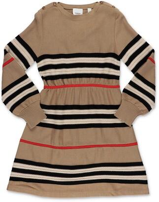 Burberry Children Icon Stripe Long Sleeve Knit Dress