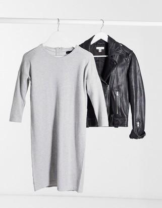 Vero Moda round neck sweater dress in gray