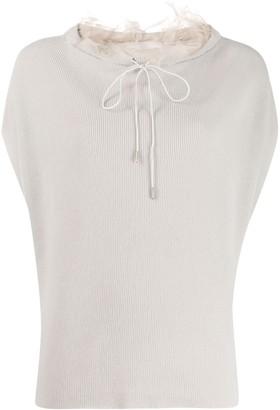 Fabiana Filippi ruffle-trimmed short-sleeved jumper