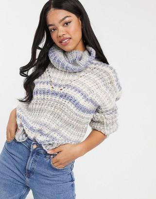 Hollister turtleneck sweater in oatmeal stripe