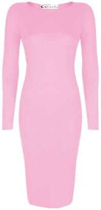 Crazy Girls Womens Plain Long Sleeve Scoop Neck Stretch Bodycon Maxi Midi Dress (XL-UK16/18