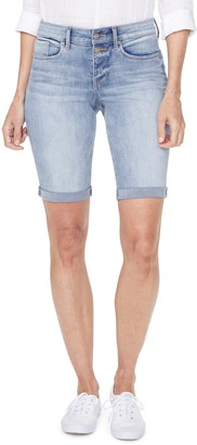 NYDJ Briella High Waist Two-Button Roll Cuff Denim Shorts