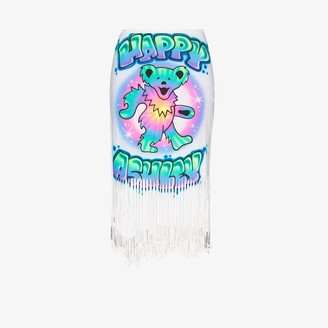 Ashley Williams Happy Ashley graffiti fringed skirt