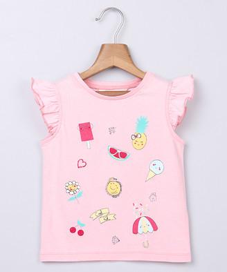 Beebay Girls' Tee Shirts Lt. - Light Pink Ice Cream Flutter-Sleeve Swing Top - Newborn, Infant, Toddler & Girls