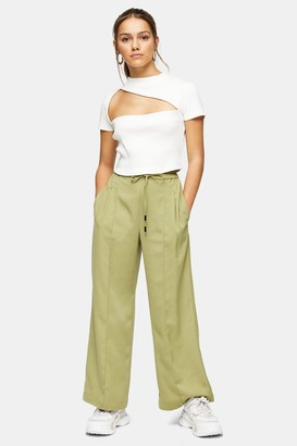 Topshop Womens Petite Olive Wide Leg Jogger Style Trousers - Olive