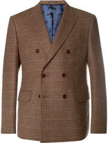 Noah Brown Slim-Fit Double-Breasted Puppytooth Wool And Cashmere-Blend Blazer