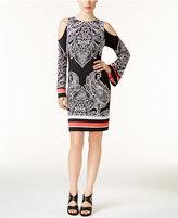 INC International Concepts Petite Printed Cold-Shoulder Dress, Only at Macy's