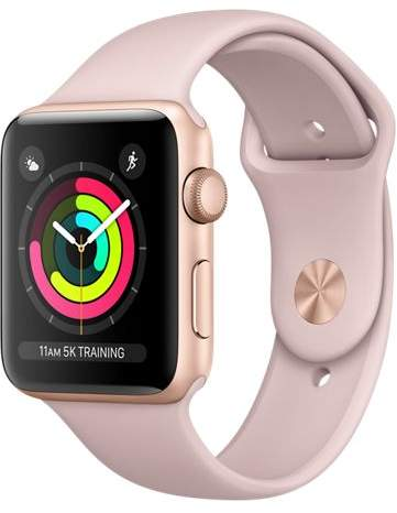 Apple Refurbished Watch Series 3 GPS, 42mm Aluminum Case with Pink Sand Sport Band