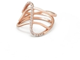 Paige Novick Three Row Curved Ring with Single Row Diamond Pave Detail in Rose Gold