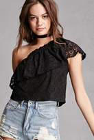 Forever 21 Lush One-Shoulder Lace Top